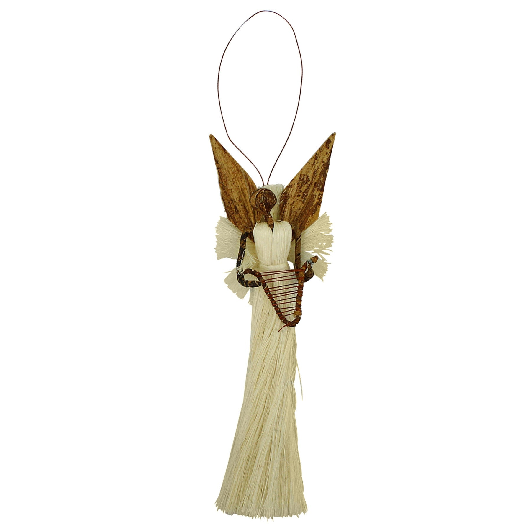 Kenyan Banana Fiber and Sisal Angel Christmas Ornament (Harp)