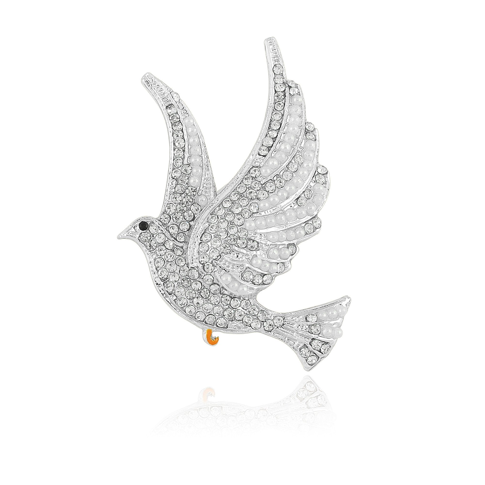 Zeta Phi Beta Inspired Faux Pearl and Rhinestone Dove Brooch (Silver)