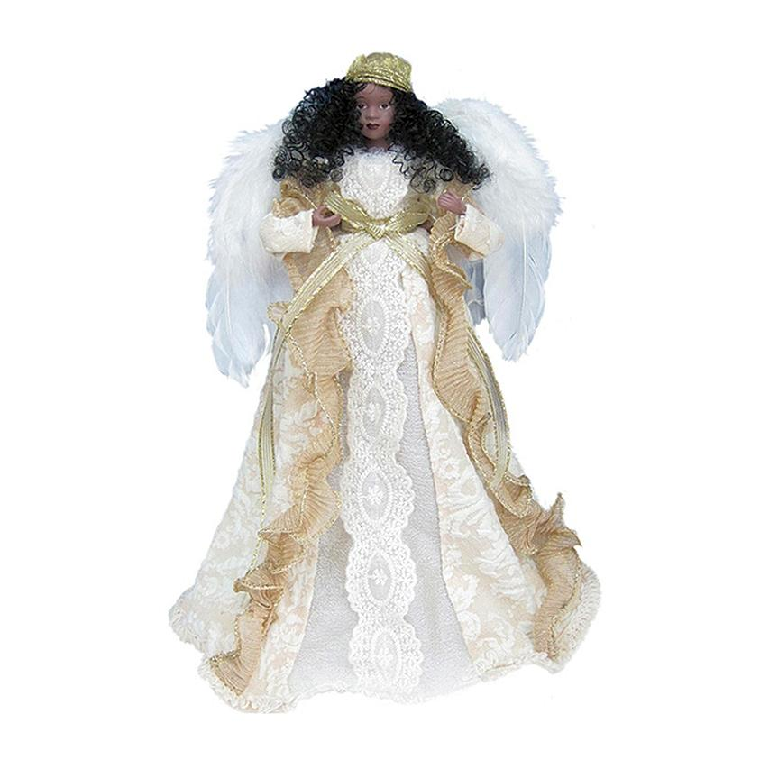 Holiday Blessings Angel: African American Angel Tree Topper by Santa's Workshop