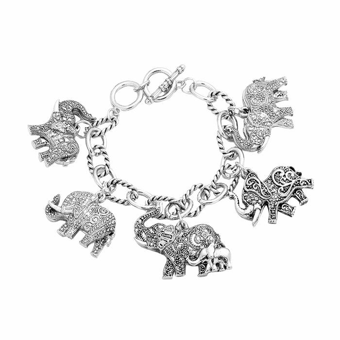 Antique Elephant Charm Bracelet with Toggle Clasp (Silver Tone)