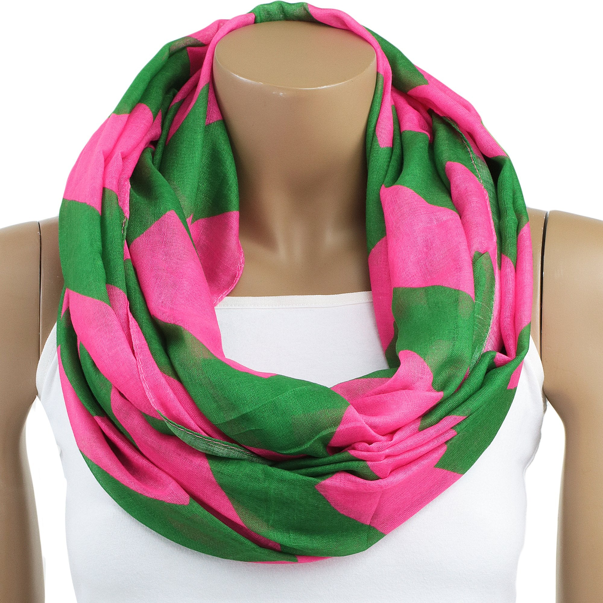 Alpha Kappa Alpha Inspired Oversized Pink and Green Chevron Scarf