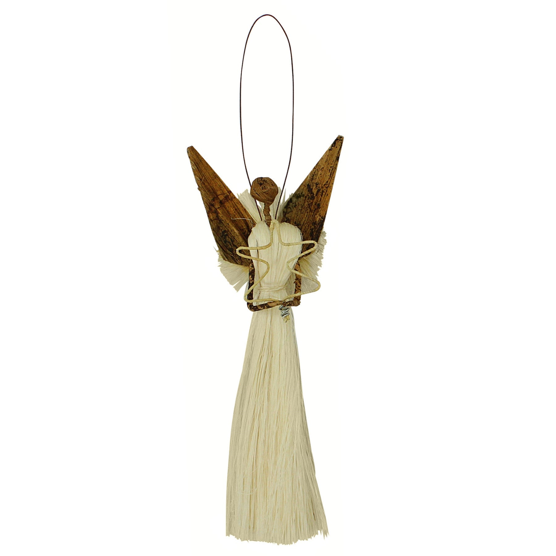 Kenyan Banana Fiber and Sisal Angel Christmas Ornament (Christmas Tree)
