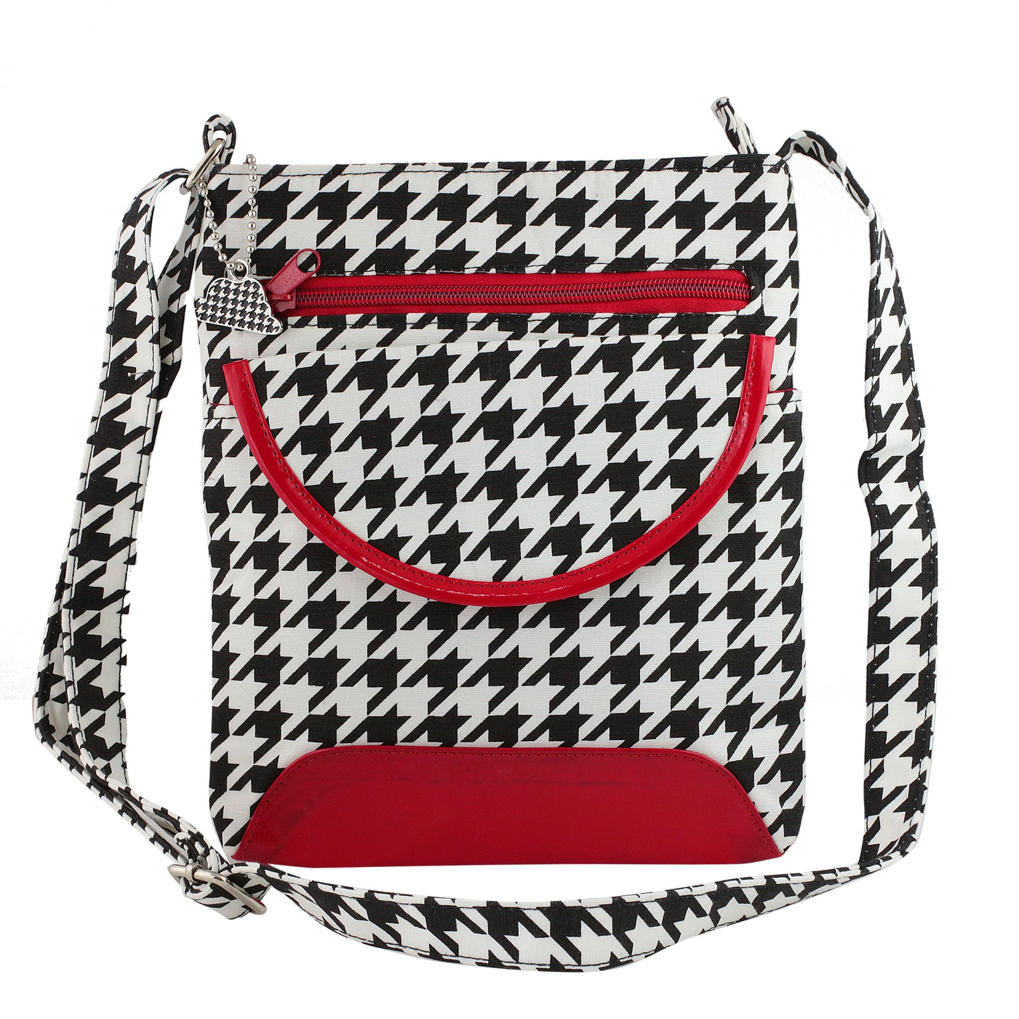 Quilted Houndstooth Crossbody Bag with Crimson Trim
