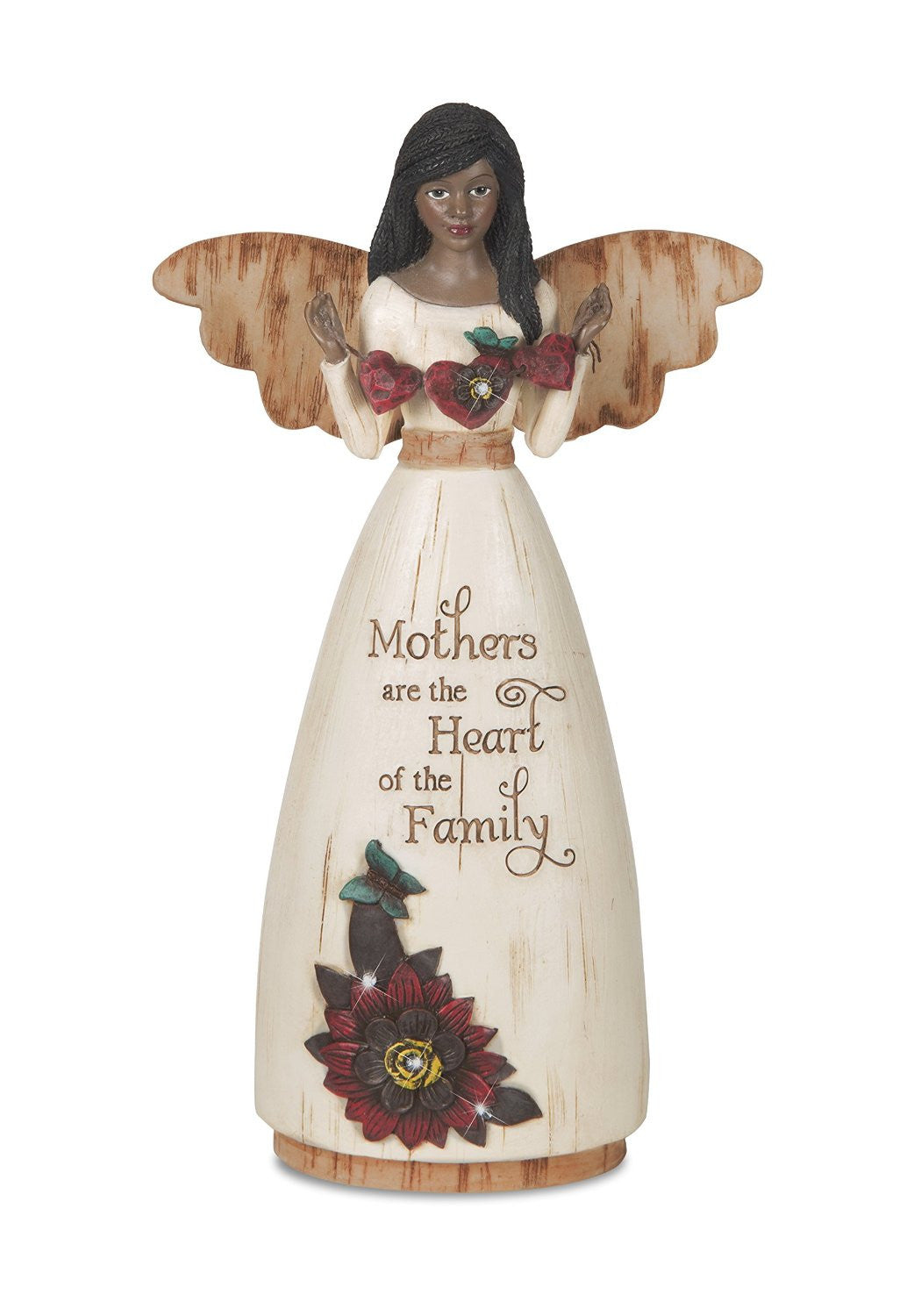 African American Mother Angel Figurine with Hearts: Simple Spirits Collection by Pavilion Gifts