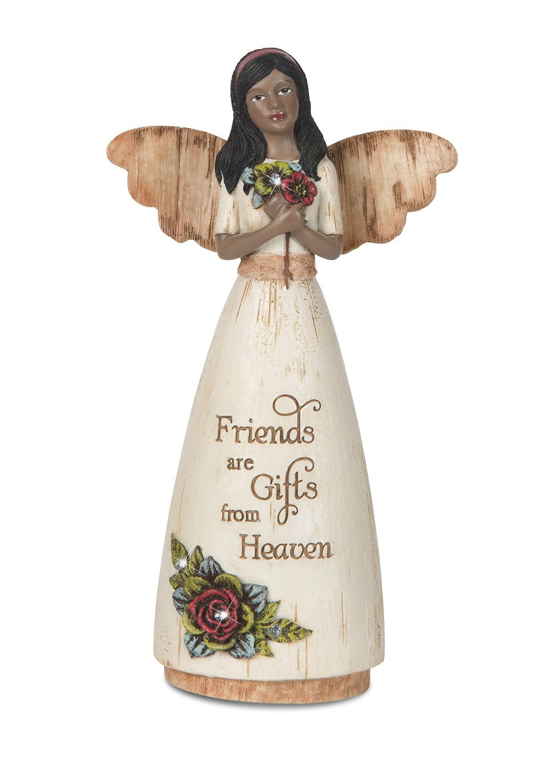 African American Friendship Angel Holding Flowers: Simple Spirits Collection by Pavilion Gifts
