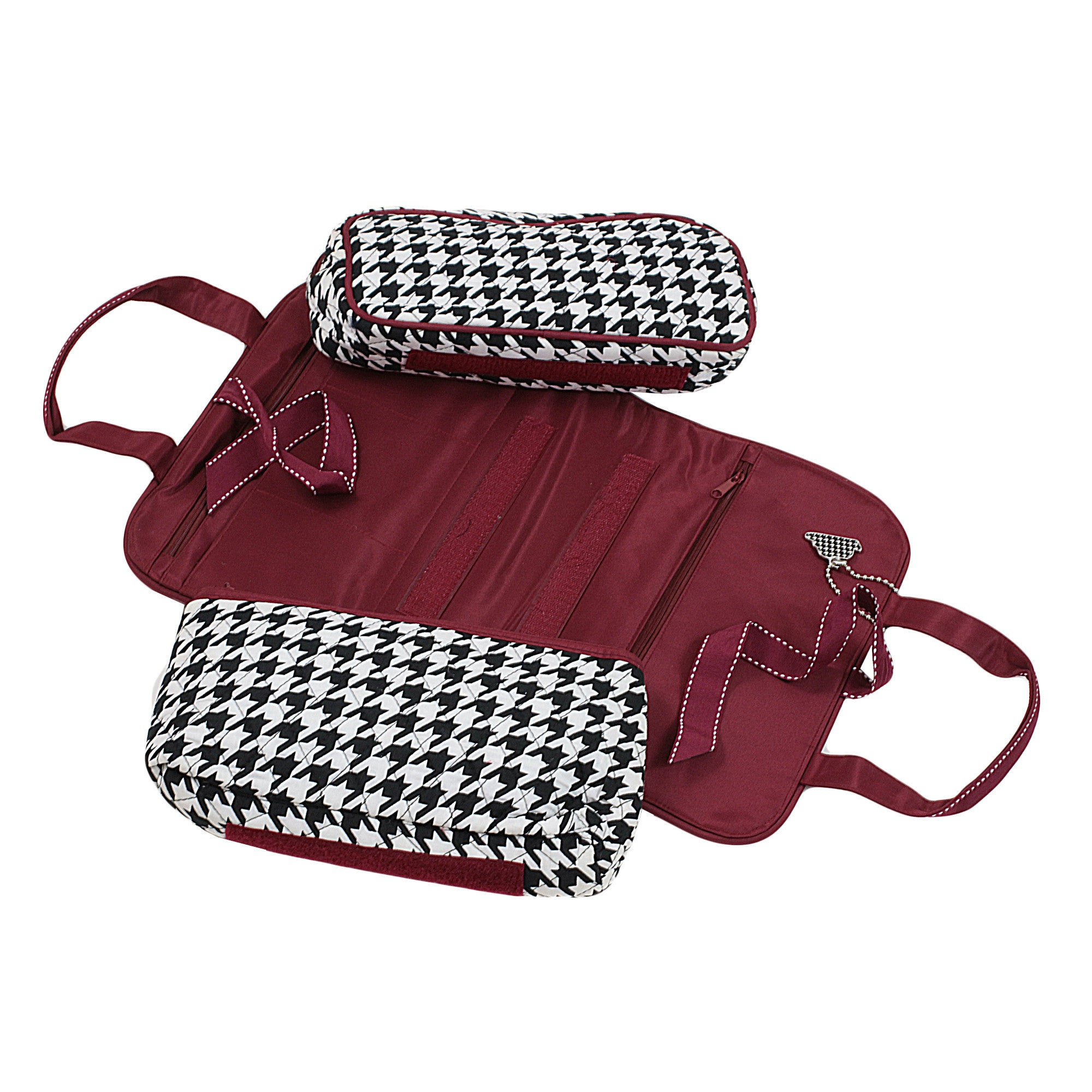 Houndstooth with Crimson Trim Cosmetic Duo with External Cover