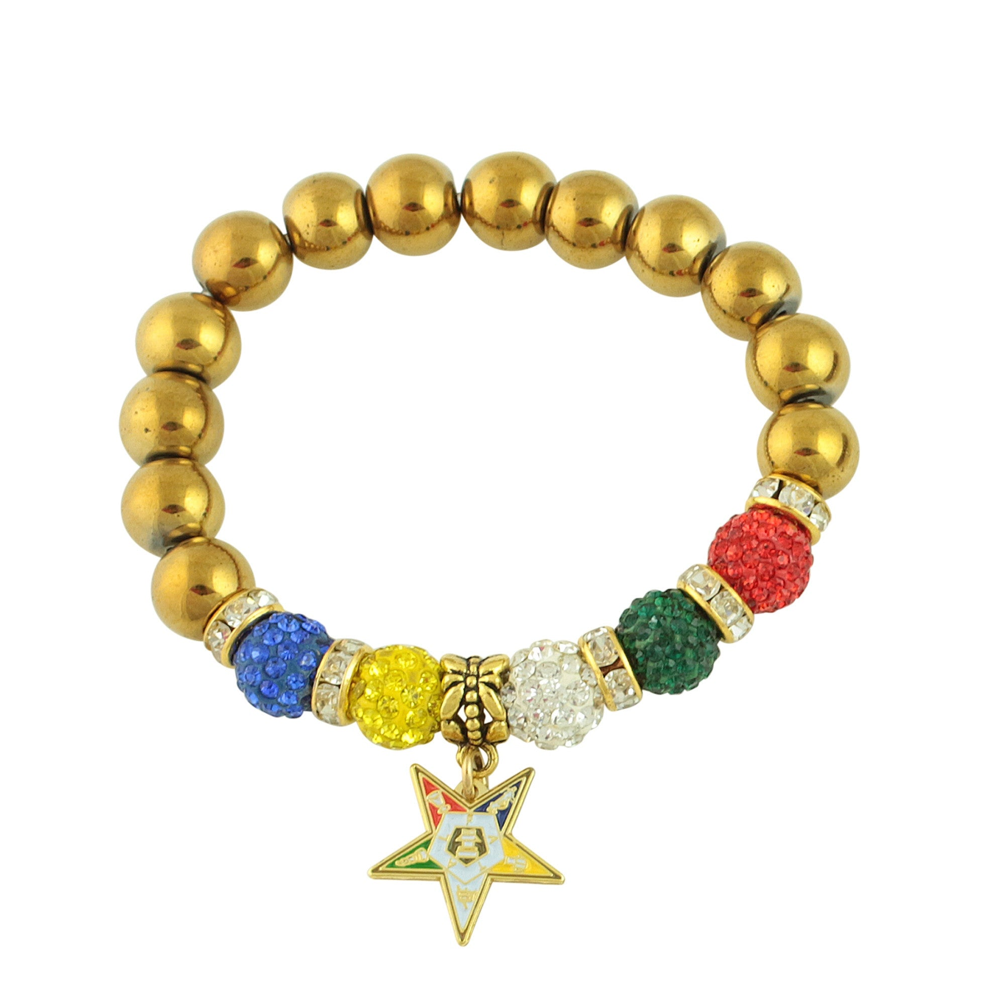 Order of the Eastern Star Natural Gemstone Charm Bracelet