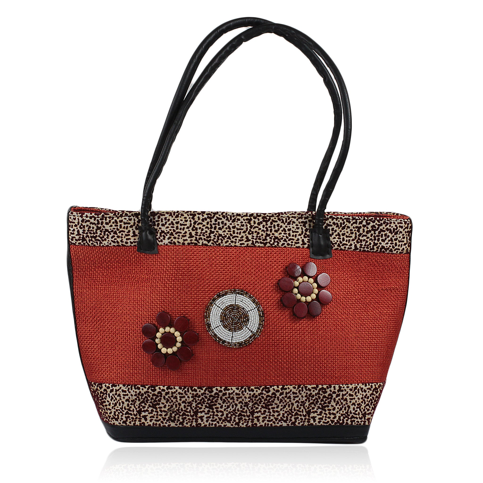 Hand Made Kenyan Jute Hand Bag with Maasai Beadwork (Orange)