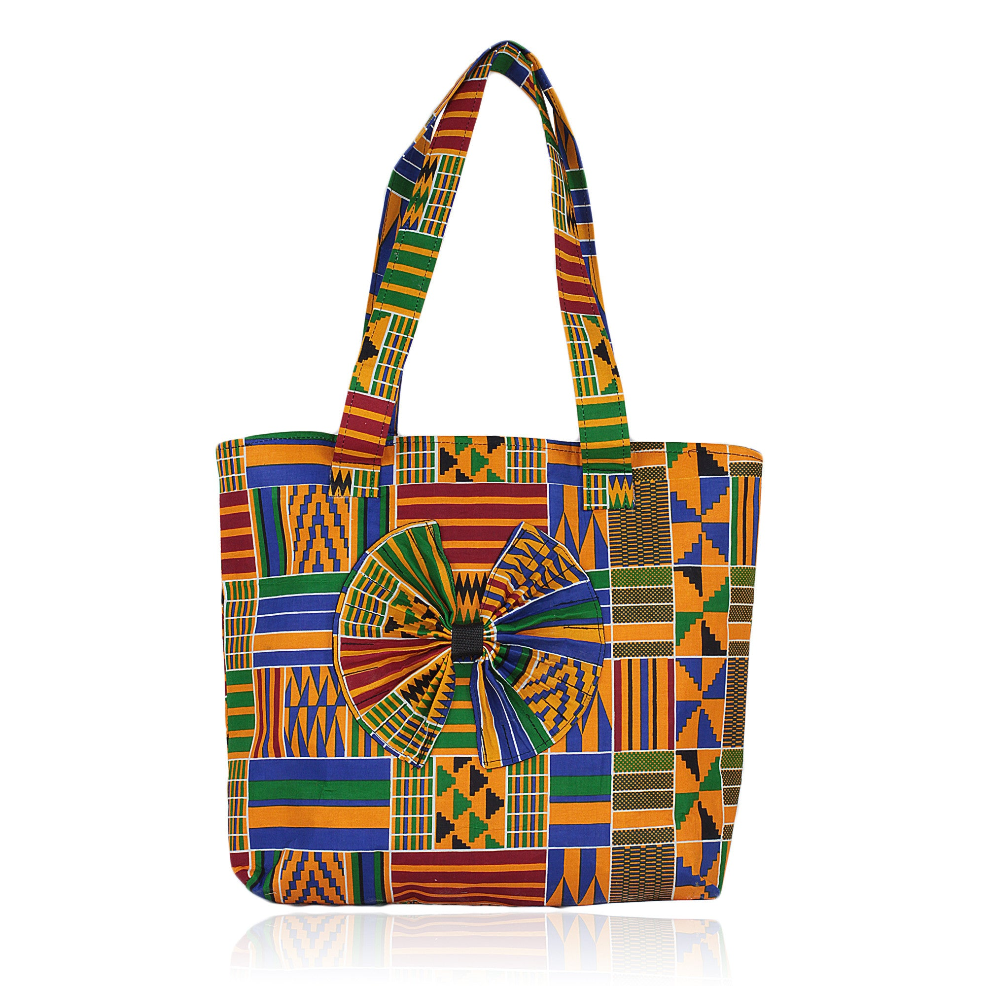 Hand Made Ghanian Kente Print Tote Bag (Traditional)