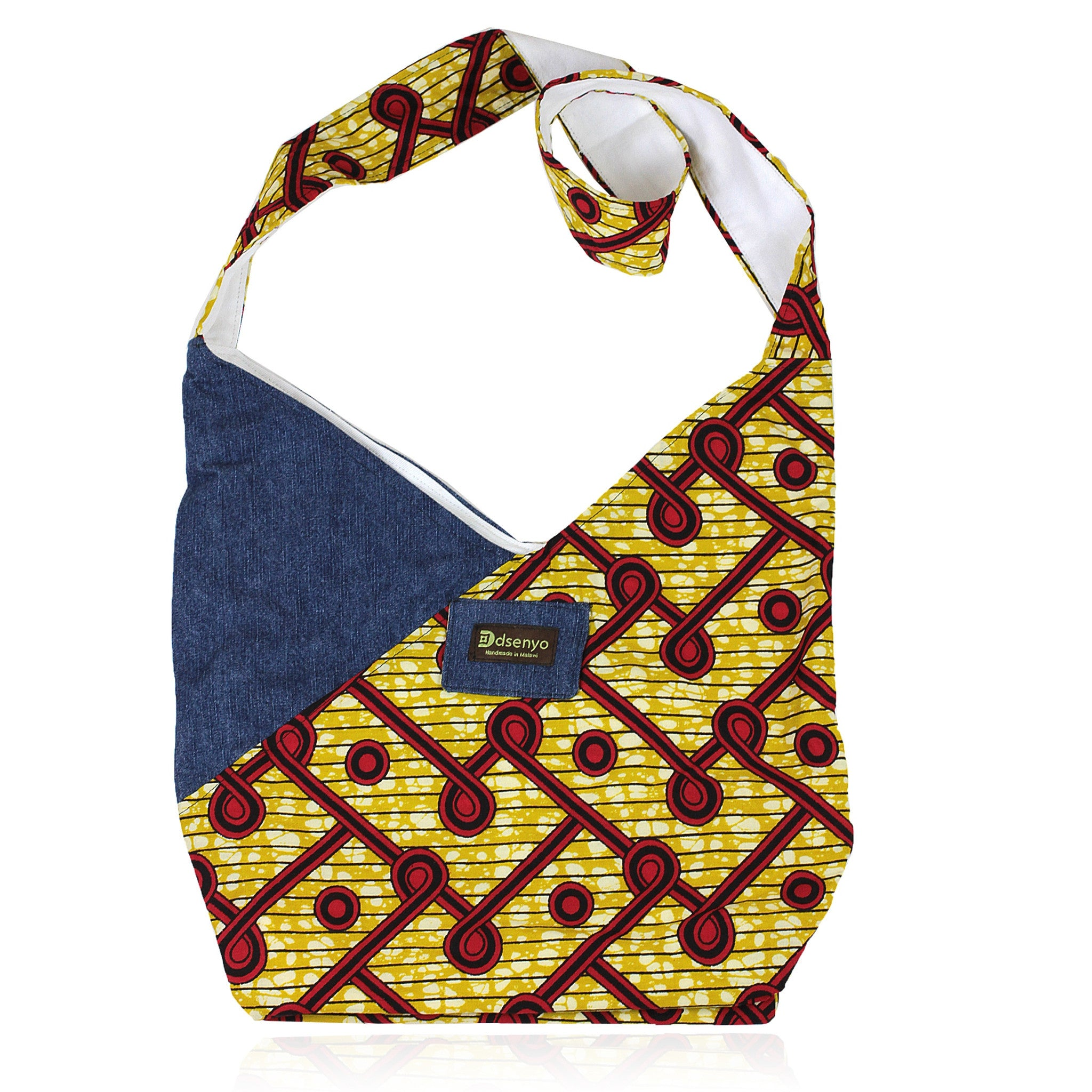 Hand Made Denim and African Print Crossbody Hip Bag (Malawi)