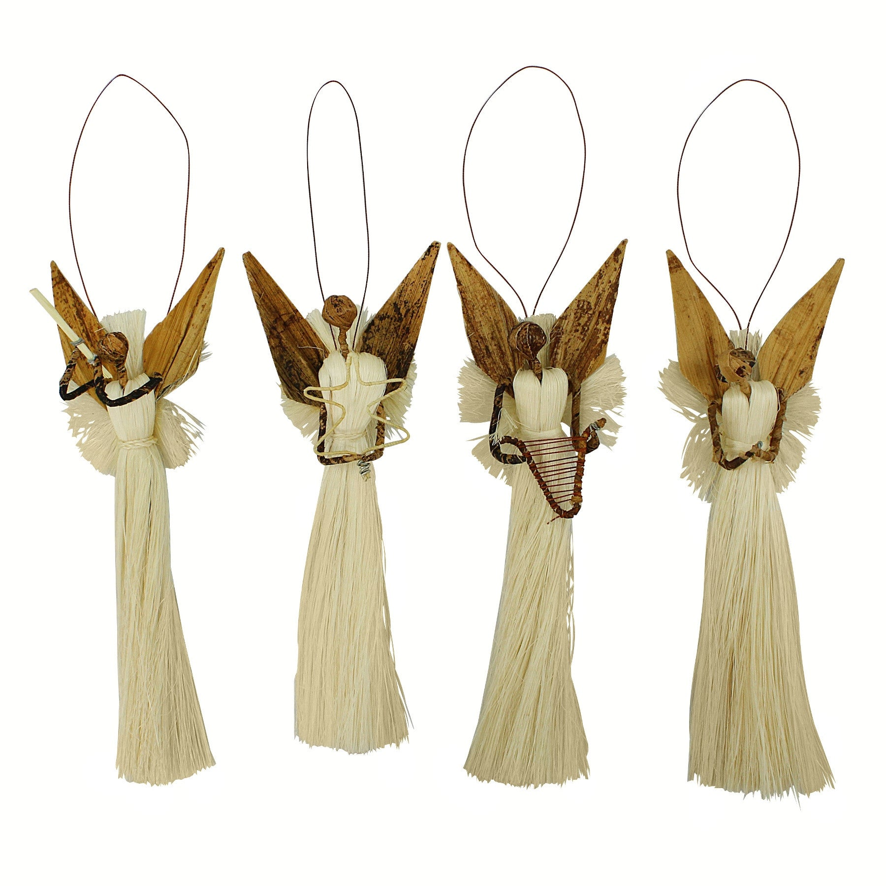 Hand Made Kenyan Banana Fiber Christmas Angel Ornament Set