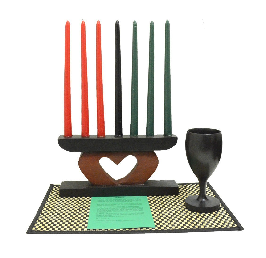 Authentic African Hand Made Kwanzaa Heart Kinara Celebration Set