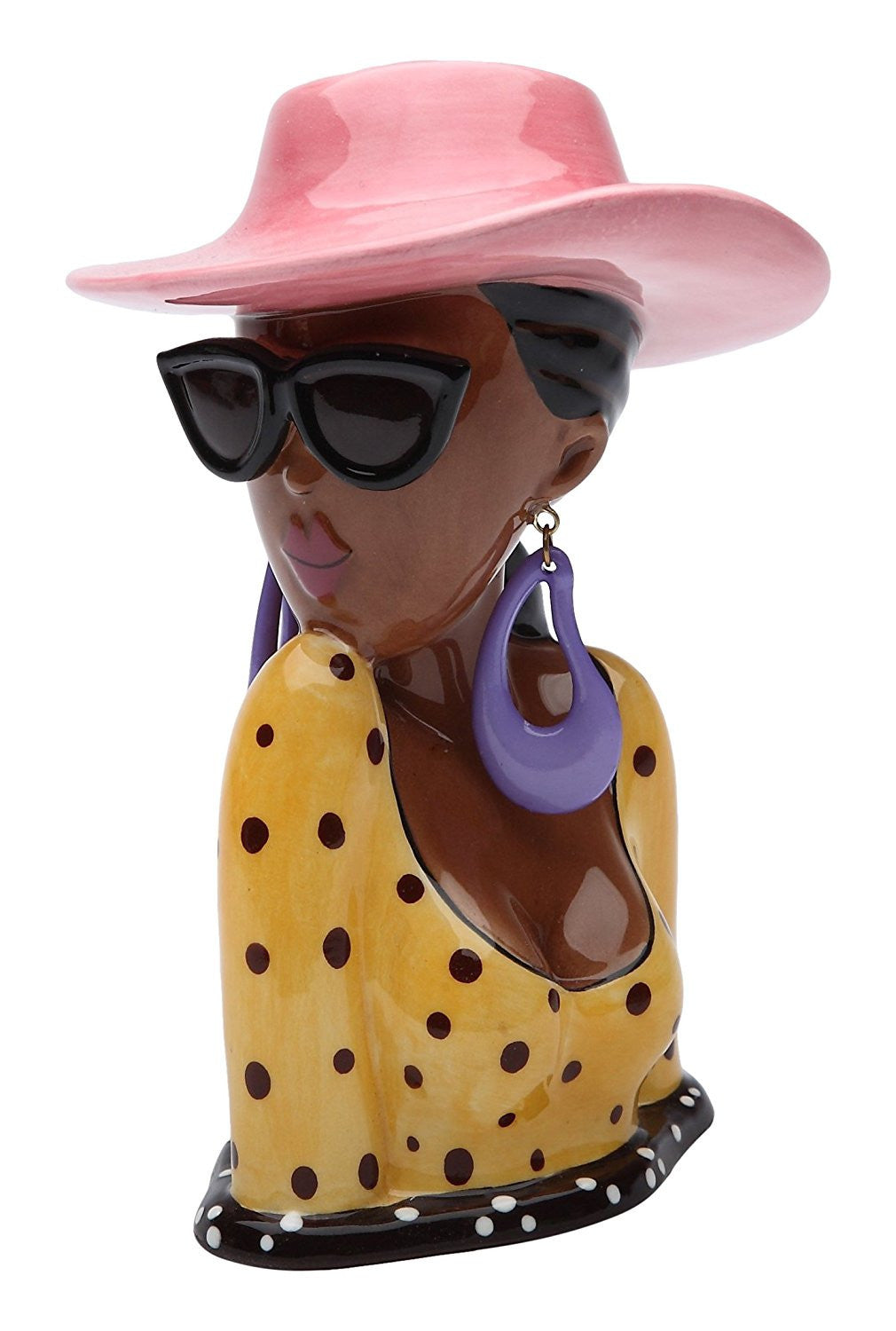 Summer Lady: African American Diva Ceramic Makeup Holder by Cosmos Gifts