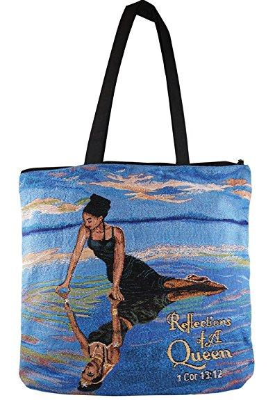 Reflections of a Queen: African American Woven Tote Bag