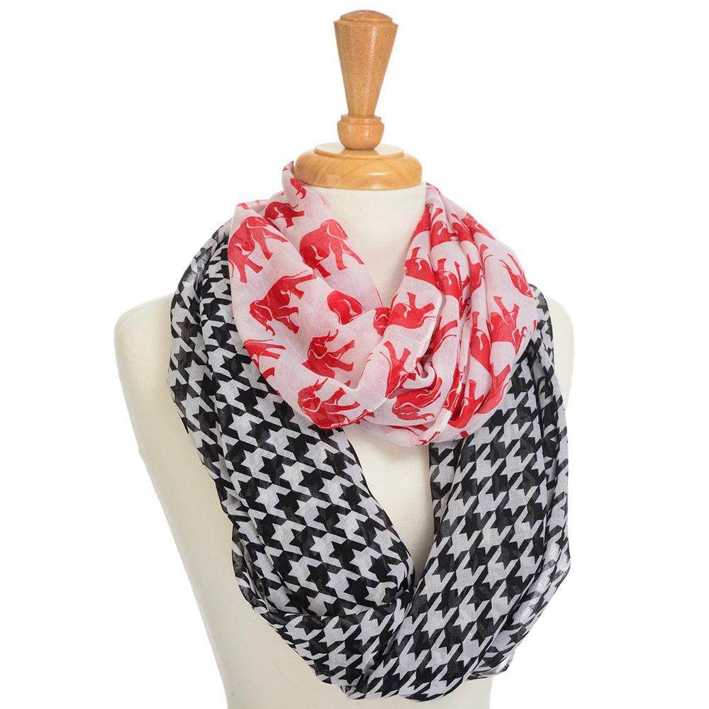 Houndstooth and Crimson Elephant Lightweight Infinity Scarf