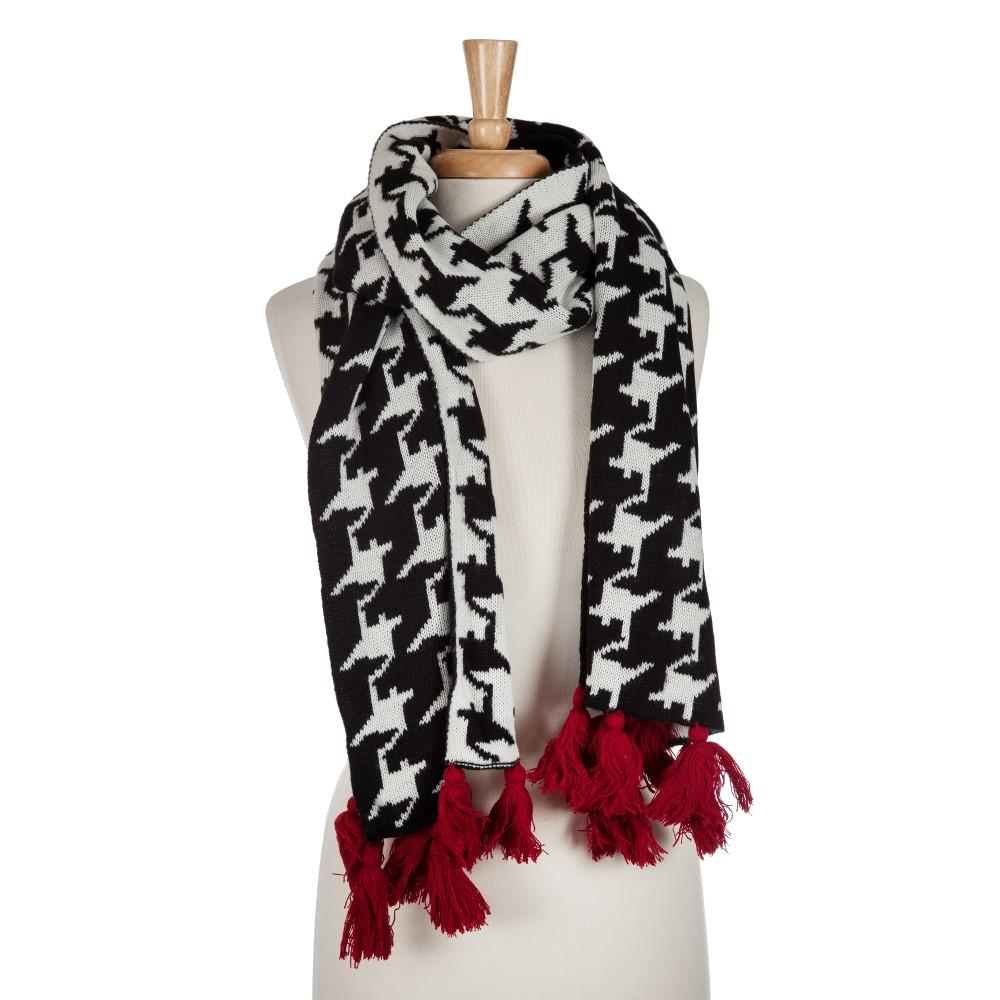Houndstooth Sweater Scarf with Crimson Tassles