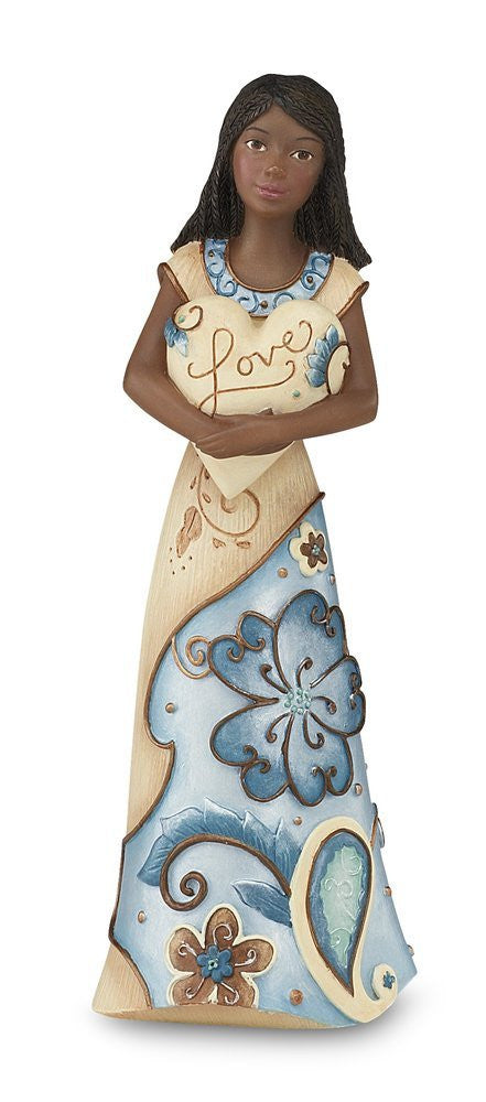 African American Love Angel Figurine with Heart: Perfect Paisley Collection by Pavilion Gifts