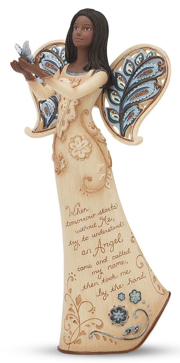 African American Sympathy Angel with Butterfly Figurine: Perfect Paisley Collection by Pavilion Gifts