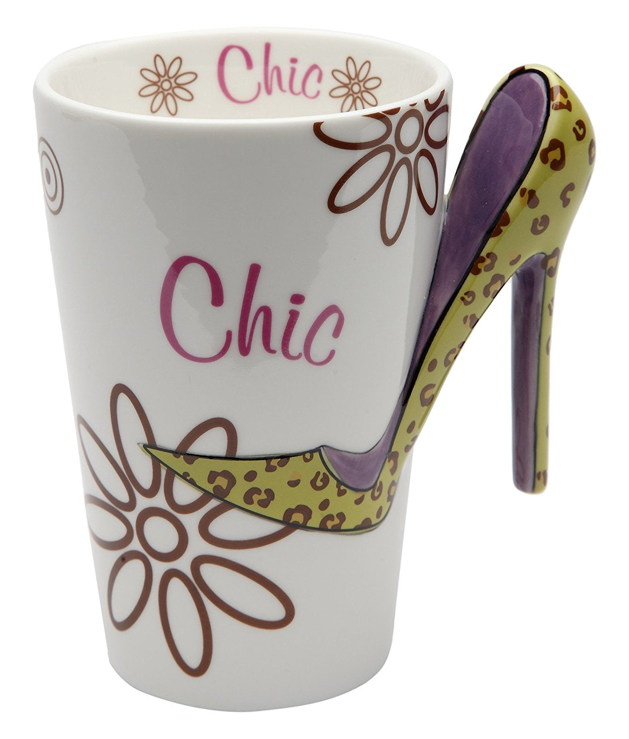 Chic Ceramic Mug with Stiletto Handle by Cosmos Gifts