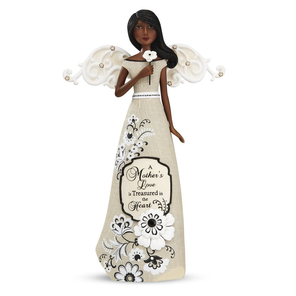African American Mother Angel Figurine: Modeles Collection by Pavilion Gifts