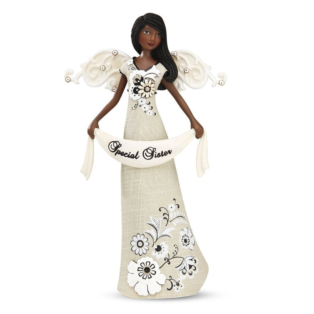 African American Sister Angel Figurine: Modeles Collection by Pavilion Gifts