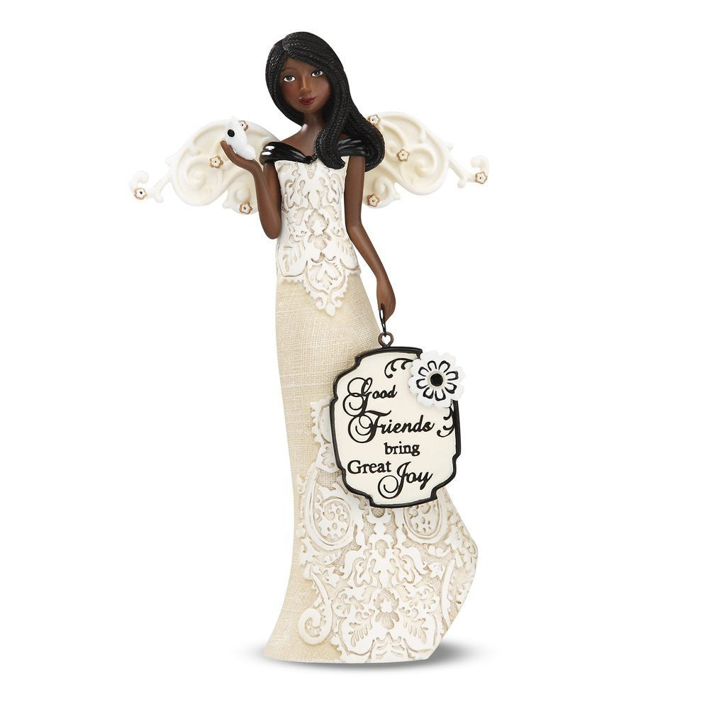 African American Good Friends Angel Figurine: Modeles Collection by Pavilion Gifts