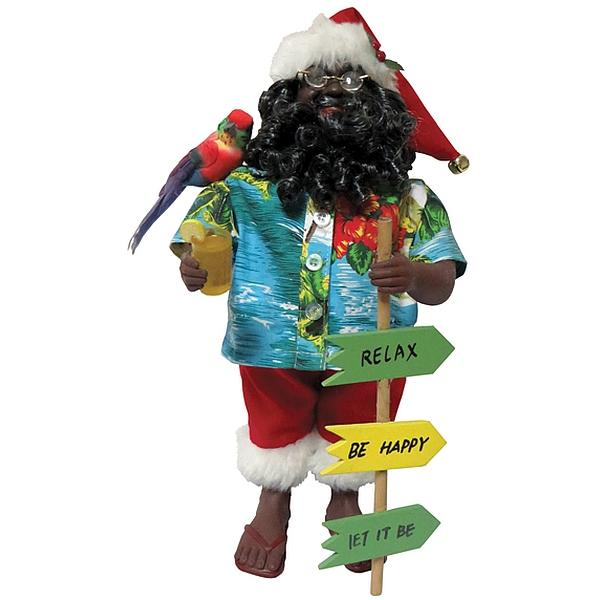 Relax, Be Happy Santa: African American Santa Claus Figurine