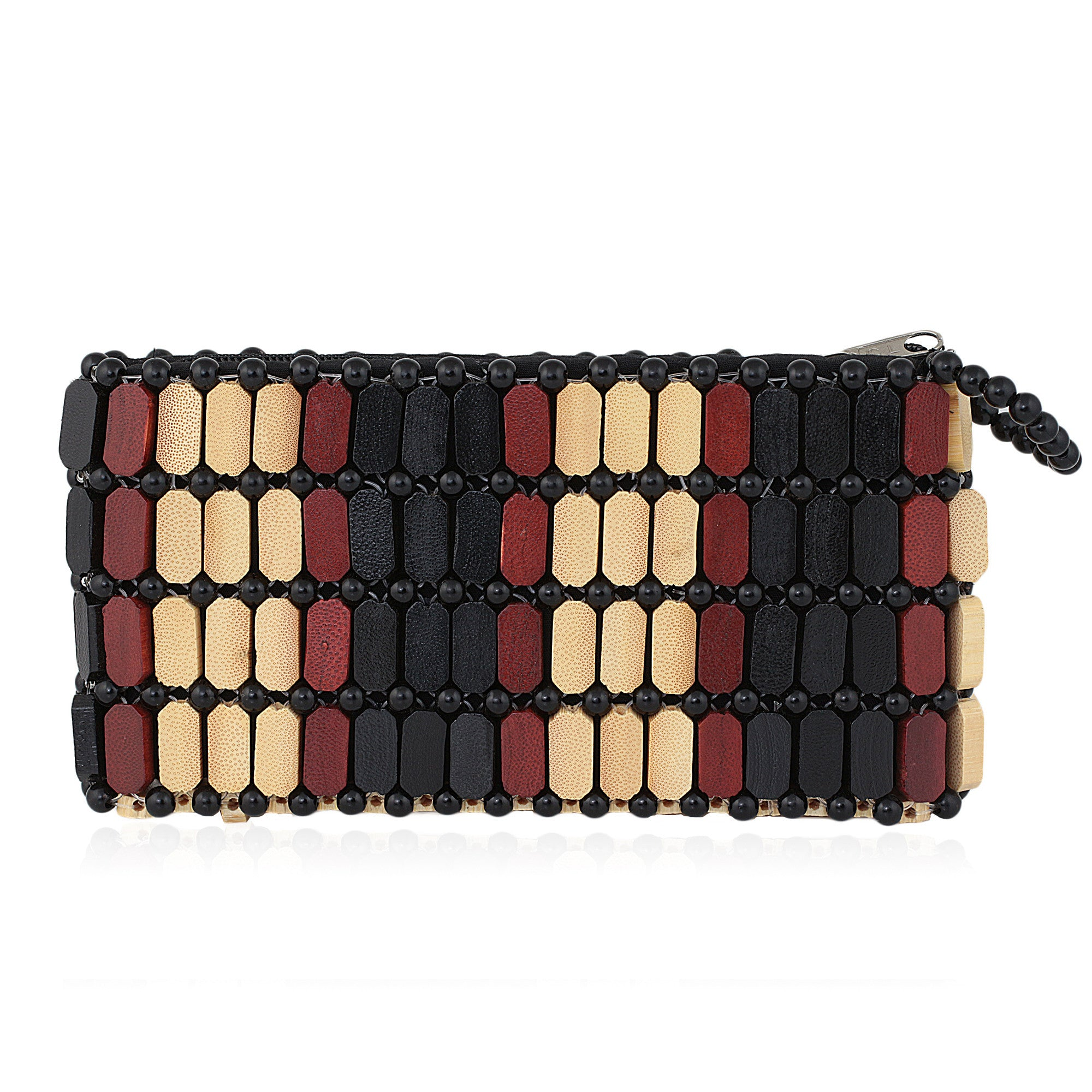 Akina: Authentic African Wood Slice and Bead Wallet (Hand Made in Kenya)