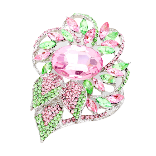 Alpha Kappa Alpha Pink & Green Crystal Glass Brooch (Silver Tone)