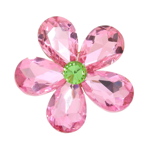 Alpha Kappa Alpha Inspired Pink Rose Crystal Rhinestone Flower Brooch