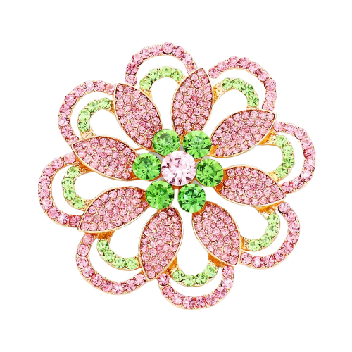 Alpha Kappa Alpha Inspired Pink Rose Round Crystal Flower Pin/Brooch