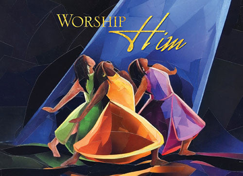 Worship Him: African American Christmas Card by Carl M. Crawford