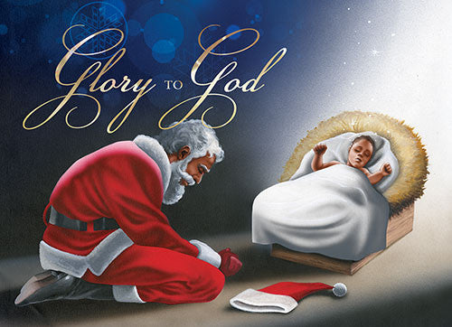Glory to God (Manger): African American Christmas Card