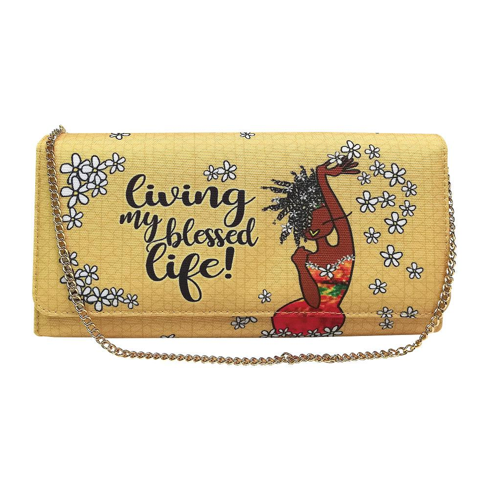 My Blessed Life by Kiwi McDowell: African American Canvas Clutch Bag