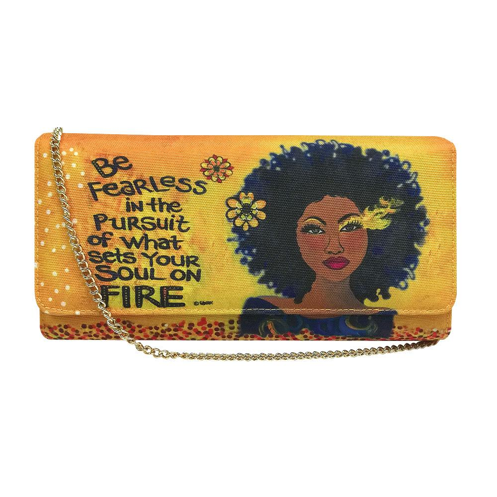 "Soul on Fire by Sylvia ""GBaby"" Cohen: African American Canvas Clutch Bag"