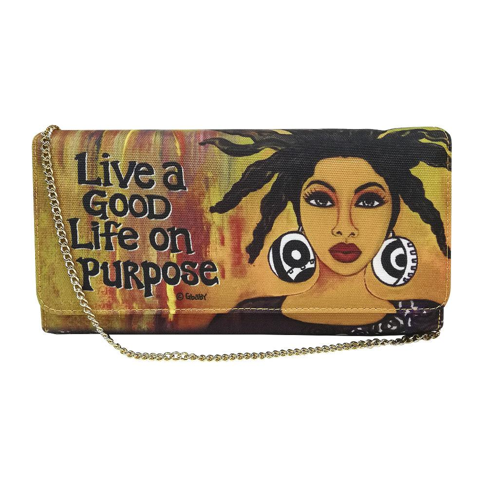 "Life on Purpose by Sylvia ""GBaby"" Cohen: African American Canvas Clutch Bag"