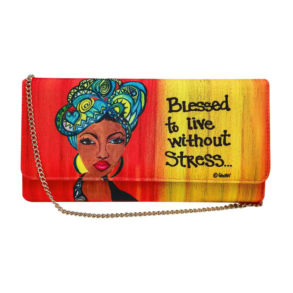 "Live Without Stress by Sylvia ""GBaby"" Cohen: African American Canvas Clutch Bag"