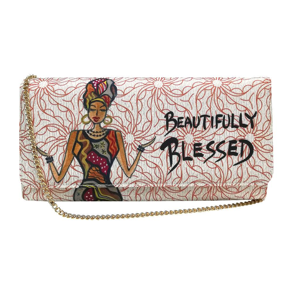 Beautifully Blessed by Cidne Wallace: African American Canvas Clutch Bag