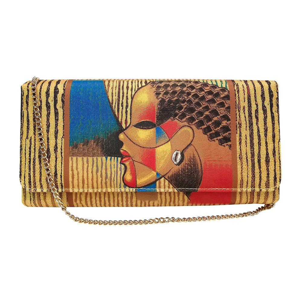 Composite of a Woman by Poncho: African American Canvas Clutch Bag