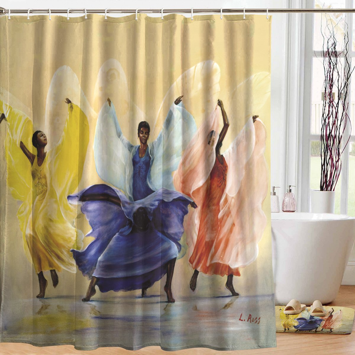 Butterflies: African American Shower Curtain by LaVarne Ross
