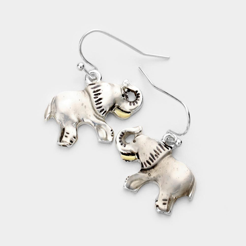 Elephant Fishhook Earrings by Elephant Boutique (Silver Tone)