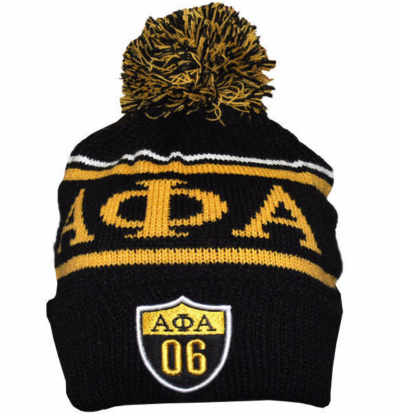 Alpha Phi Alpha Black and Gold Beanie by Big Boy Headgear (Front)