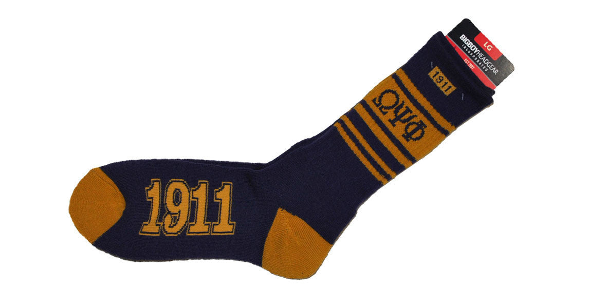 Omega Psi Phi 1911 Socks (Purple) by Big Boy Headgear