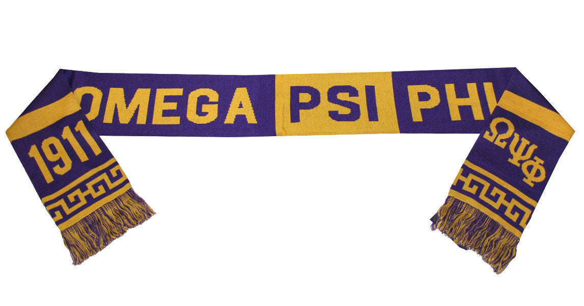 Omega Psi Phi 1911 Purple and Gold Heavyweight Knit Winter Scarf