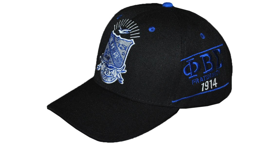 Phi Beta Sigma Adjustable Baseball Cap (Black) by Big Boy Headgear