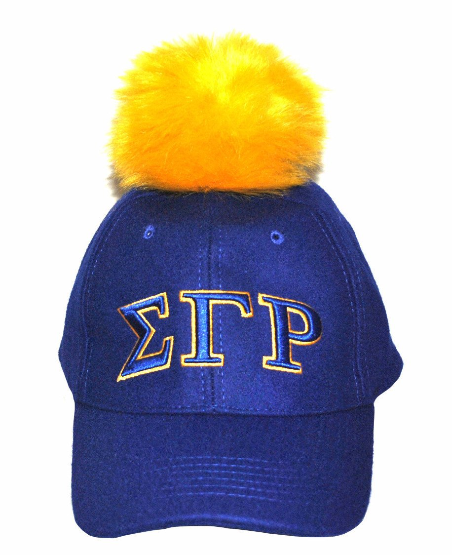 Sigma Gamma Rho Royal Blue Baseball Cap with Gold Pom Pom (Front)