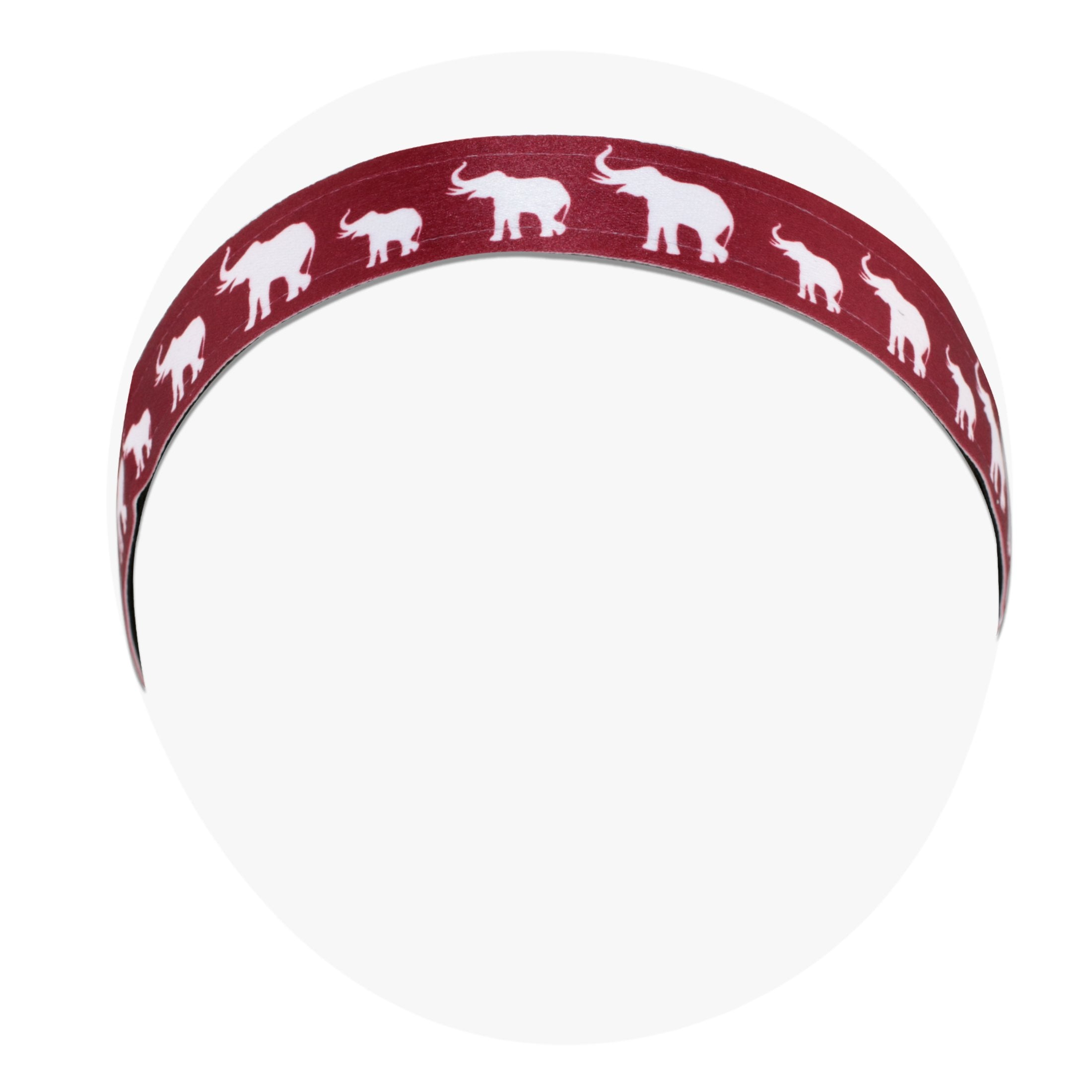 Delta Sigma Theta Inspired Crimson Red Headband with White Elephants