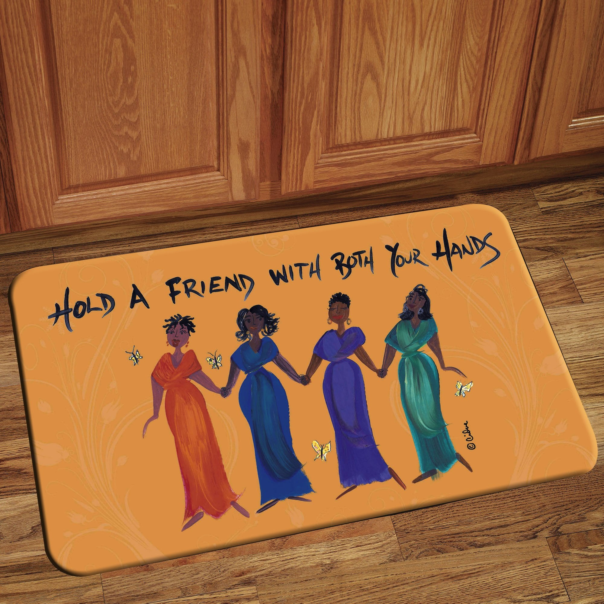 Hold a Friend With Both Hands: Cidne Wallace Interior Floor Mats by Shades of Color