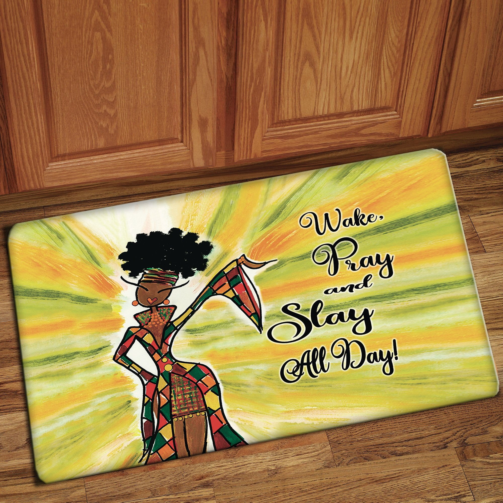Pray and Slay: African American Interior Floor Mat by Kiwi McDowell