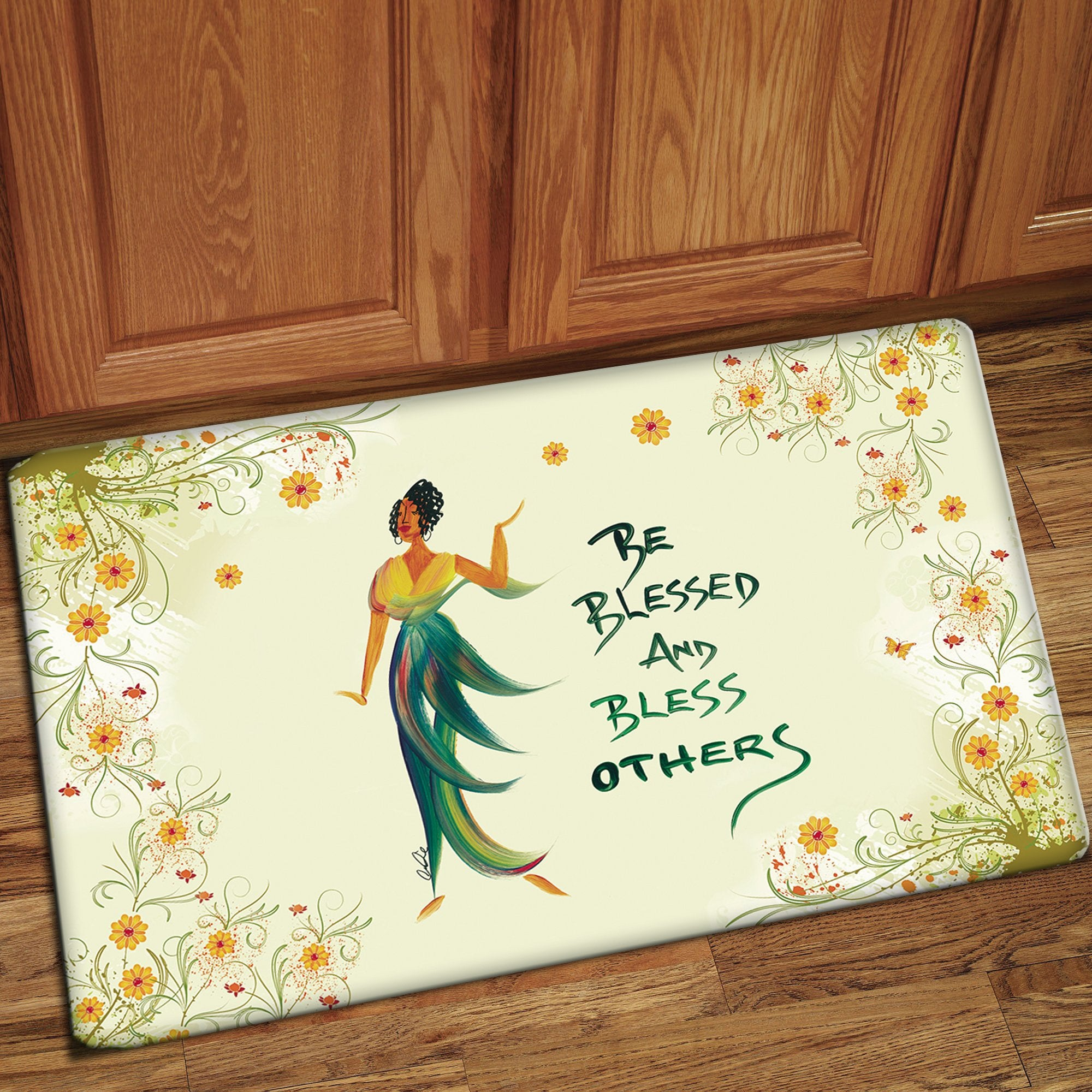Be Blessed & Bless Others: African American Interior Floor Mat by Cidne Wallace